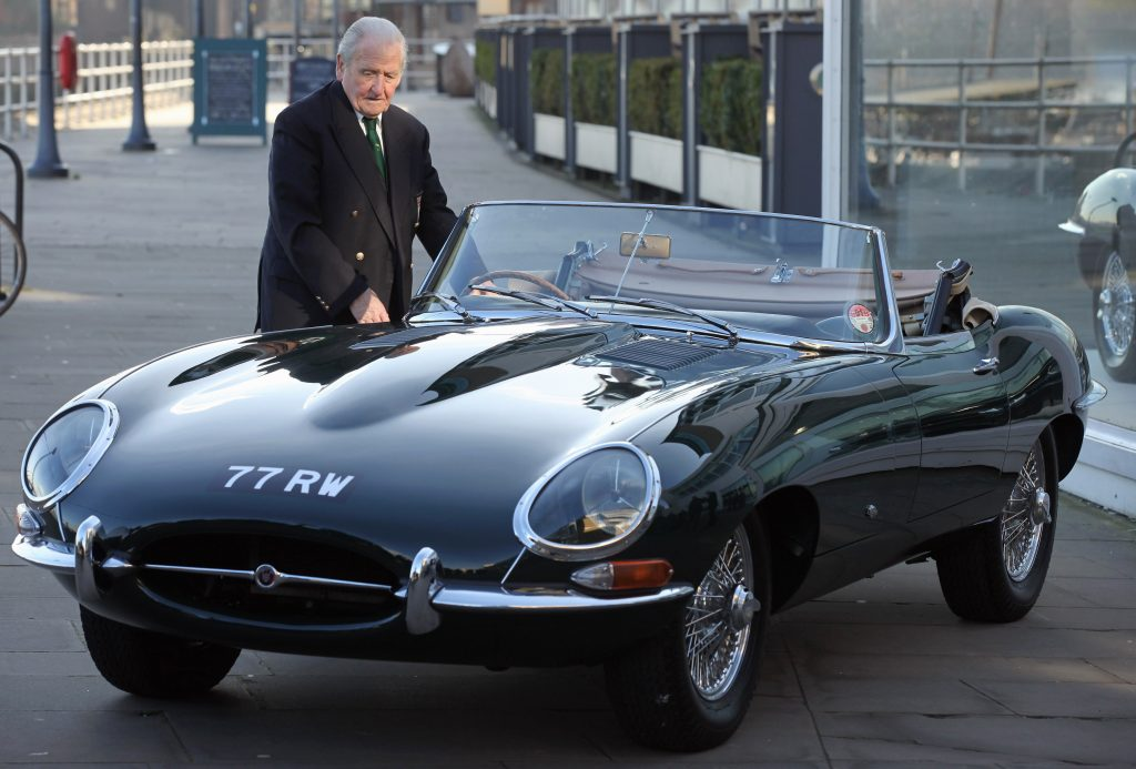 Norman Dewis is reunited with with 77RW jaguar E-Type roadster