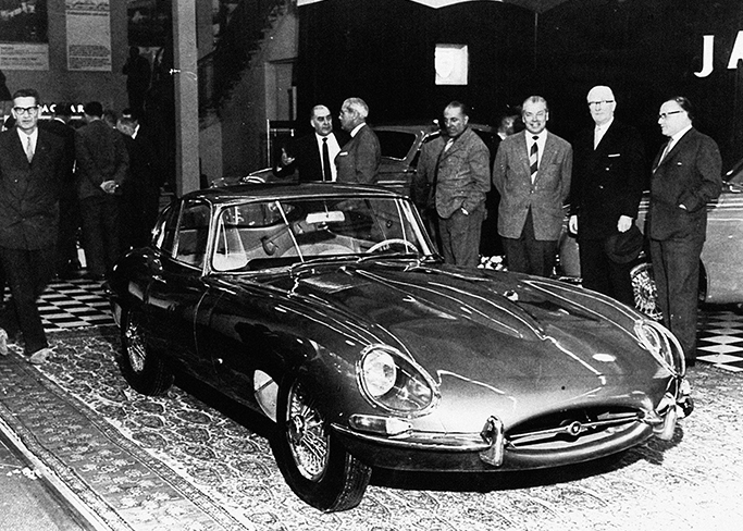 The Jaguar E-Type is launched at the 1961  Geneva motor show