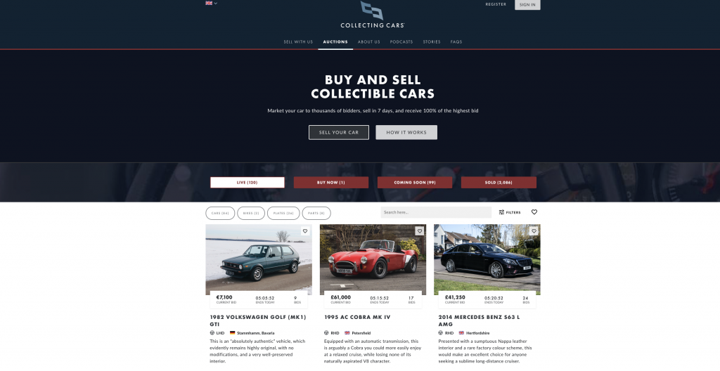 Online auction site Collecting Cars