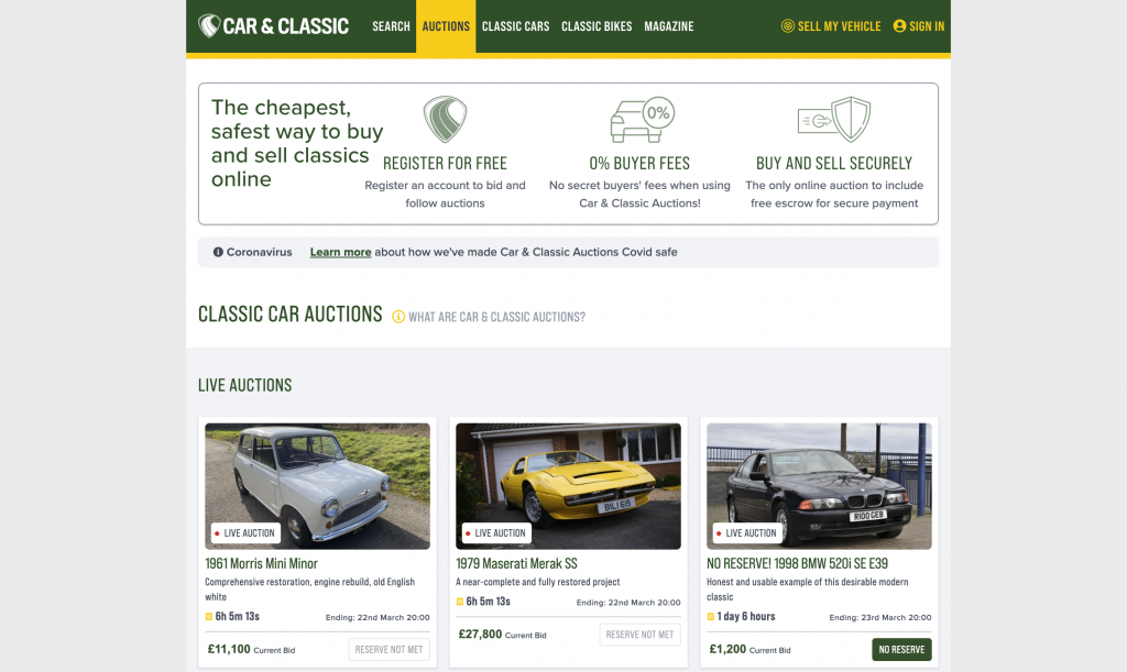 Online auction site Cat and Classic