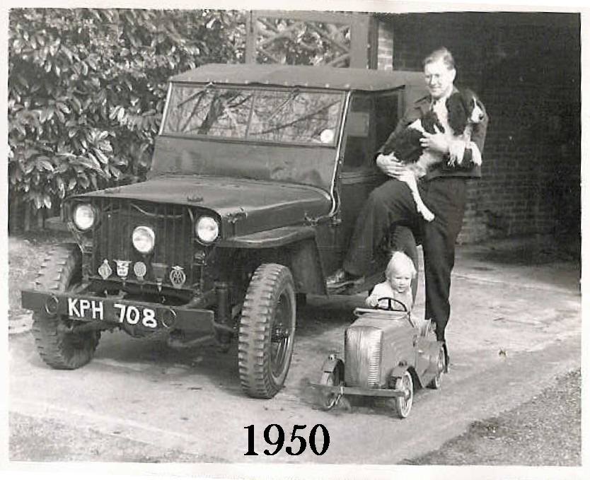 Patrick Sumner's father with the 1942 Willys MB Jeep