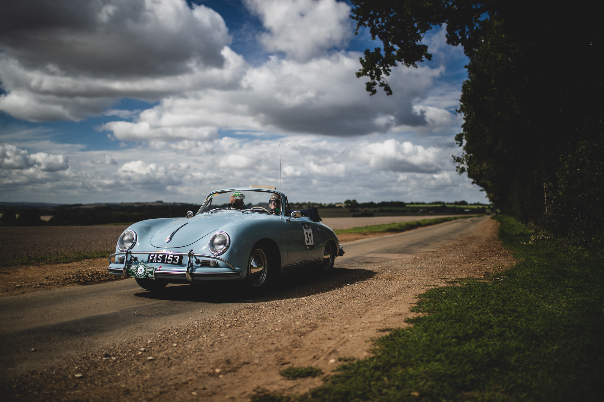 Porsche 356 roadster on rally