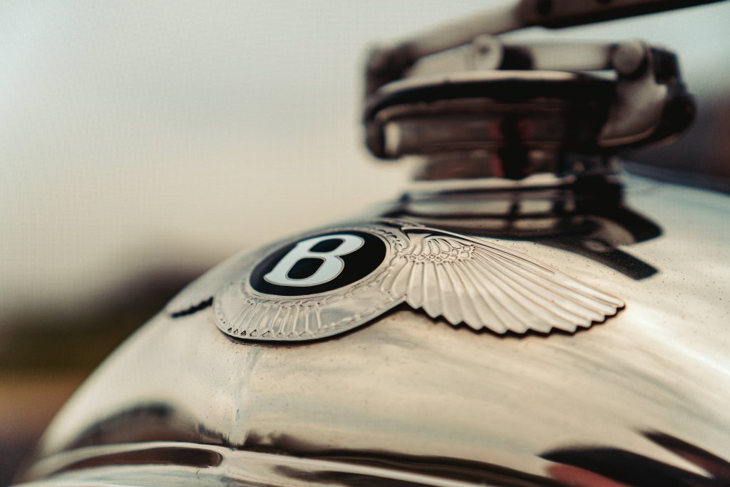 Winged emblem of the Bentley Blower Continuation Series car