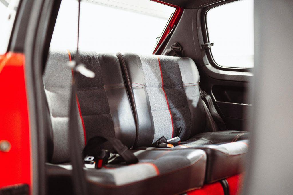 Back seats in a Peugeot 205 GTI