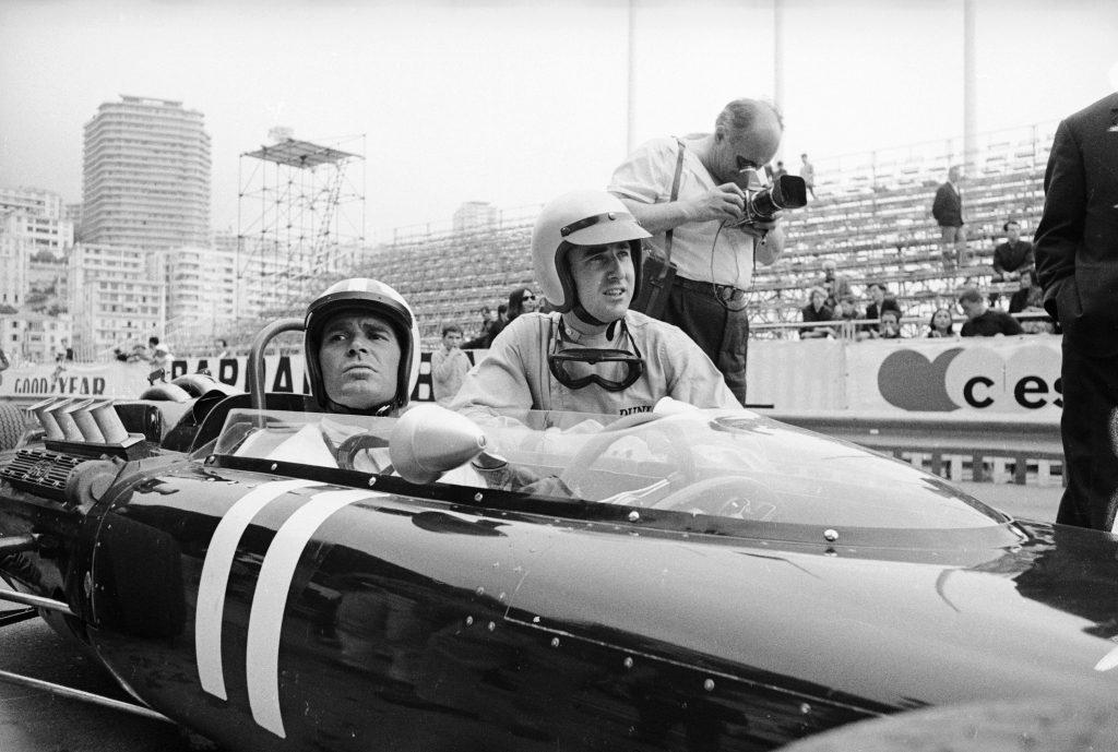 James Garner during filming of Grand Prix