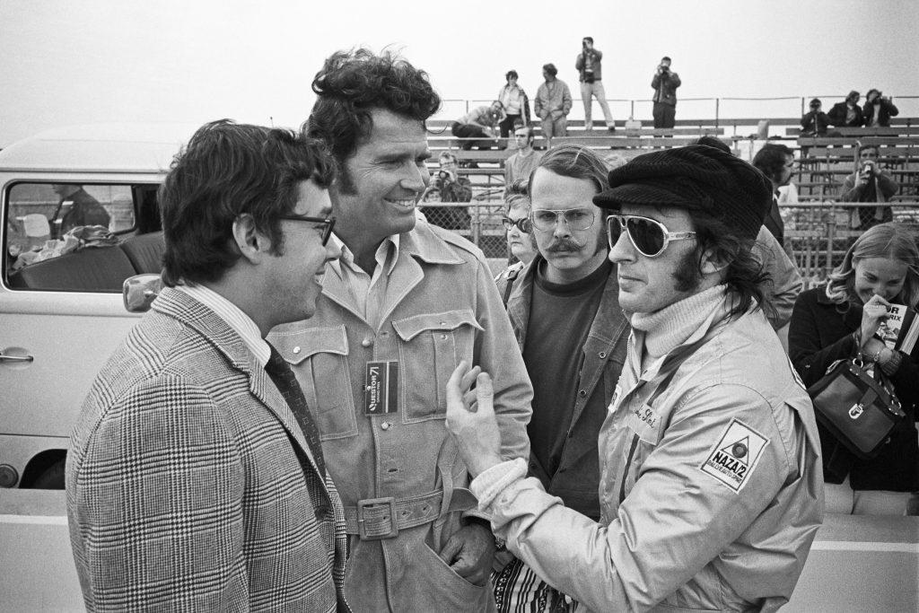 James Garner with Jackie Stewart during Grand Prix filming