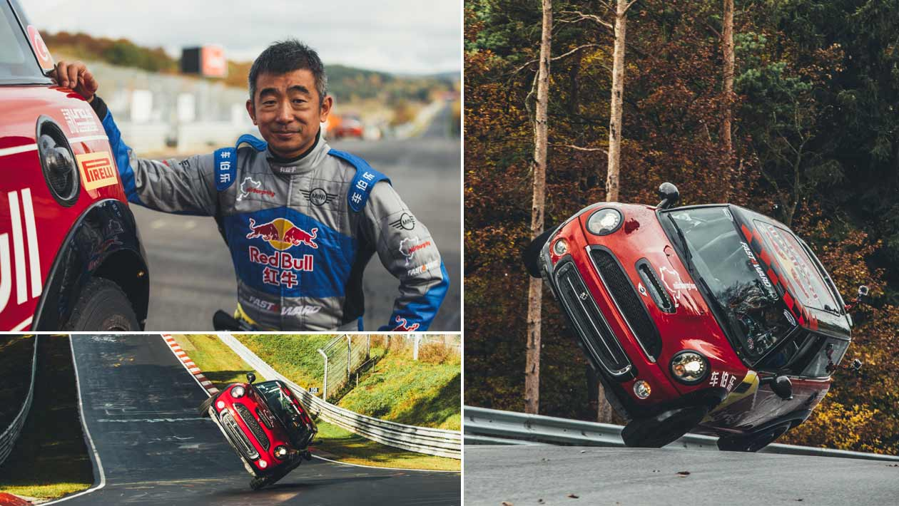 How long did it take Han Yue to drive around the Nürburgring Nordschleife on two wheels, in November 2016?
