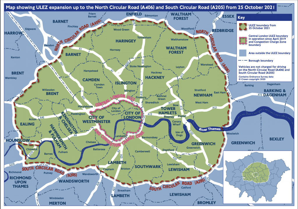 Map of the October 2021 expanded ULEZ area in London