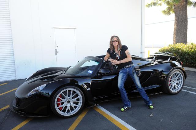 Steven Tyler with his Hennessey Venom GT Spyder