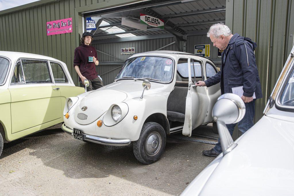 John Simister checks out the Subaru R-2 at the Tiny Car Company_Hagerty