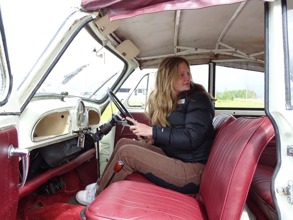 Pia mills drives the Morris Minor convertible at Young Driver