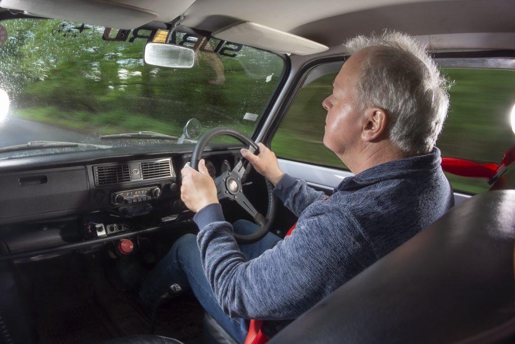 Simister drives the Subaru R-2