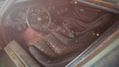 Ferrari Daytona alloy body barn find interior