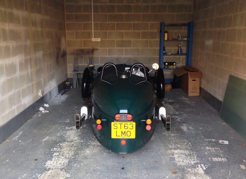 Morgan 3 Wheeler in a garage