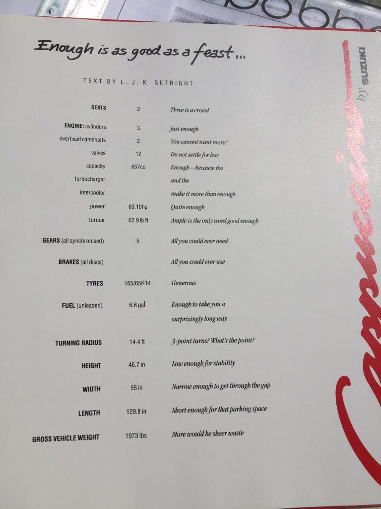Suzuki Cappuccino brochure