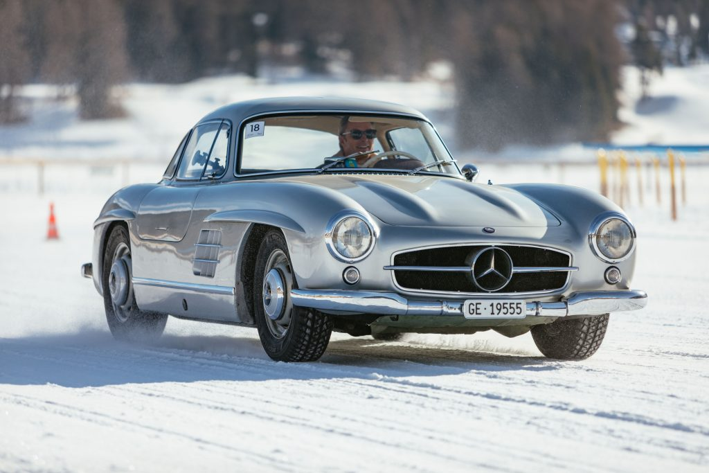 Kidston keeps his cool driving Mercedes 300 SL Gullwing on ice