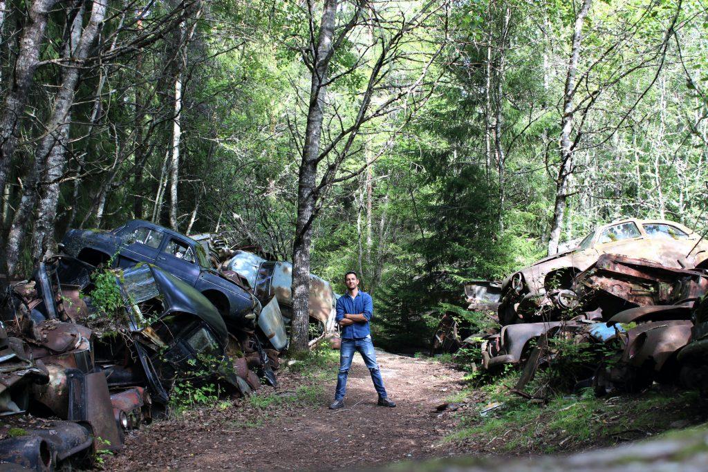 "Philipp in a ""car cemetery"" in Sweden"