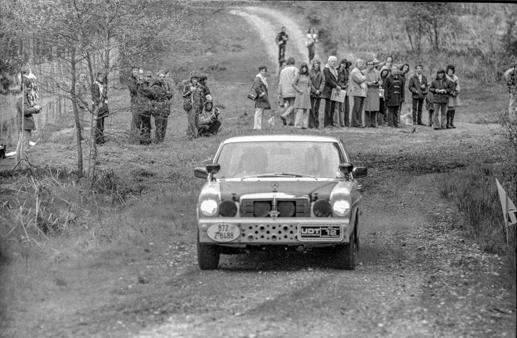 The Moss/Taylor/Sell Mercedes 280E trying hard on an early UK stage of the UDT World Cup Rally 1974
