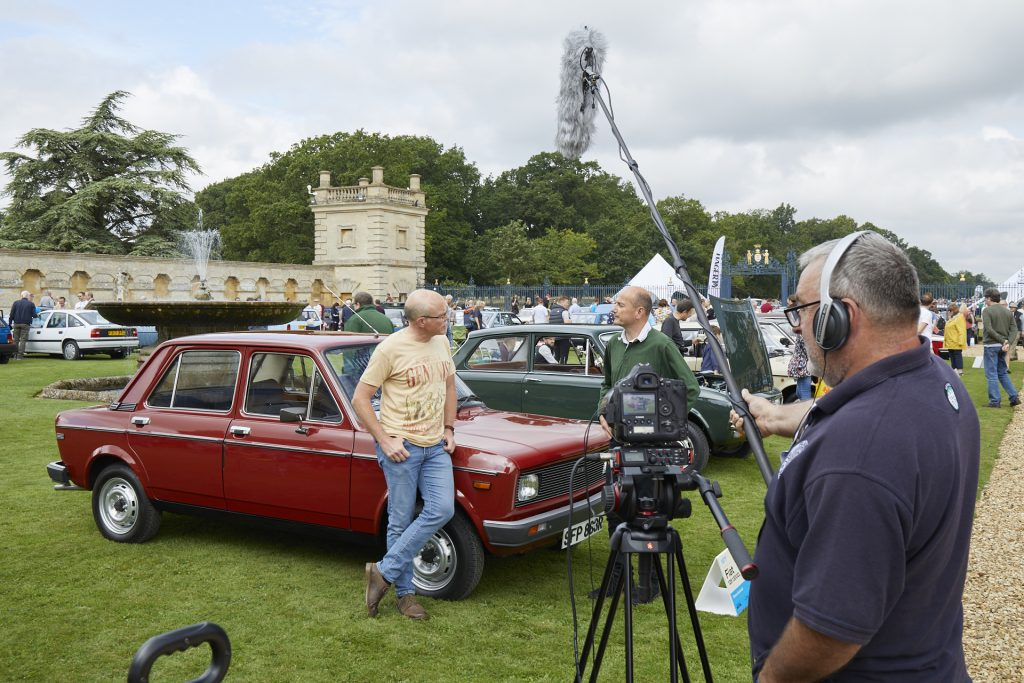 Filming interviews with Simon Hucknall and his Fiat 128 at the 2021 Hagerty Festival of the Unexceptional