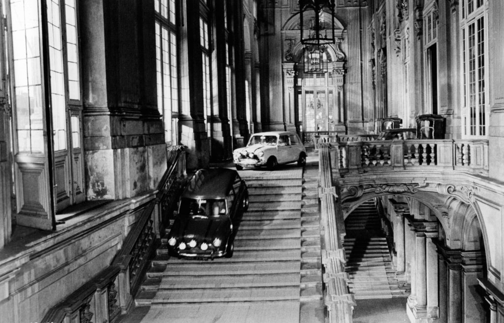 The Italian Job Mini Coopers driving down the stairs
