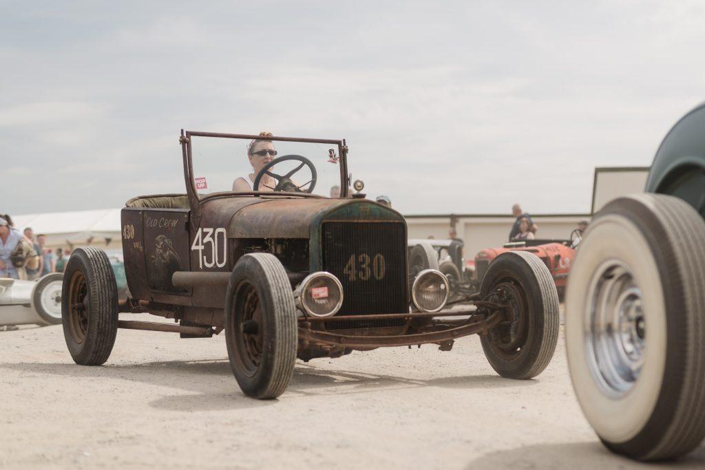 Joanna Kirkby driving her 1927 Model T at Pendine Sands