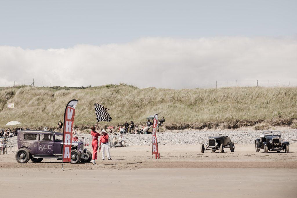 Start line for hot rod runs Pendine Sands beach