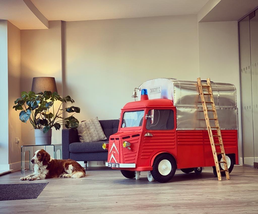 Miniature Citroen H van fire engine child's bed