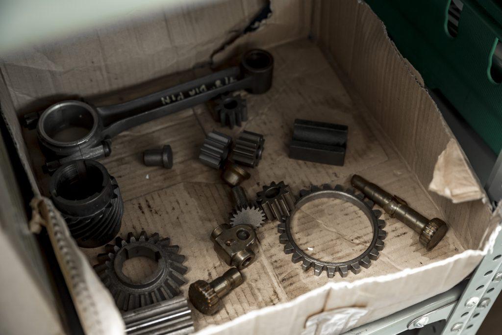 Box of Bugatti components
