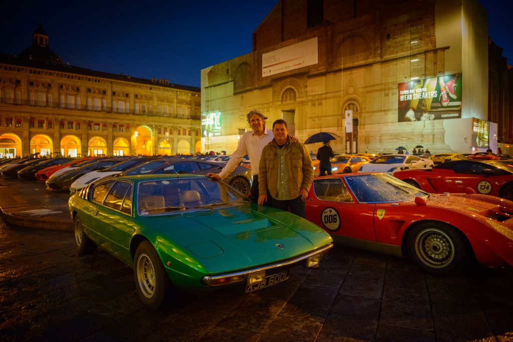 Mike Brewer and Edd China with the Urraco during 50 years of Lamborghini