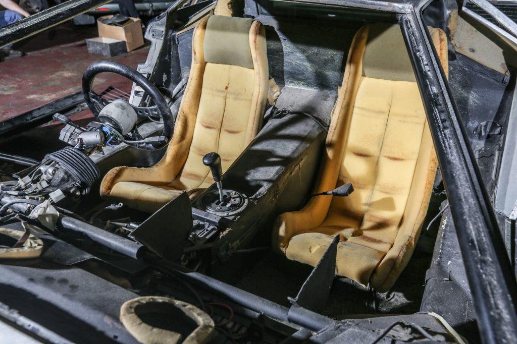 Interior of barn-find Lamborghini Countach LP500S