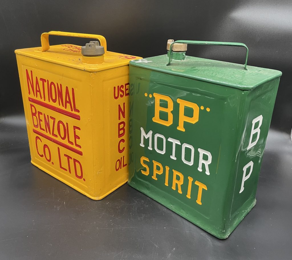 Alan Pooley petroliana collection BP fuel cans