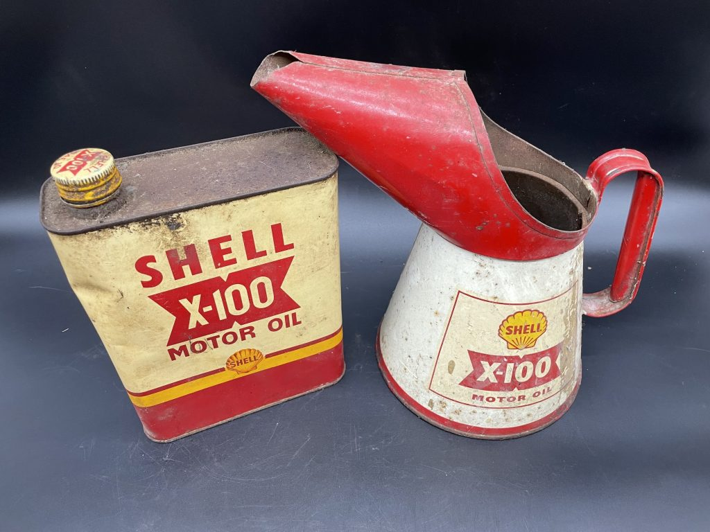 Alan Pooley petroliana collection Shell oil cans