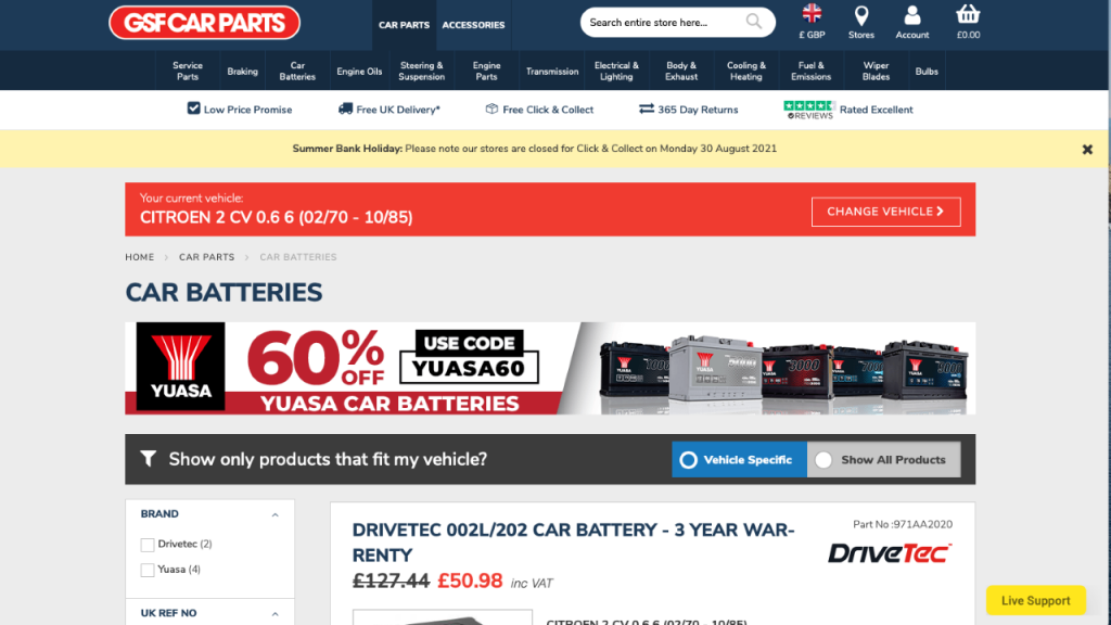 GSF Car Parts reviewed and rated for car batteries