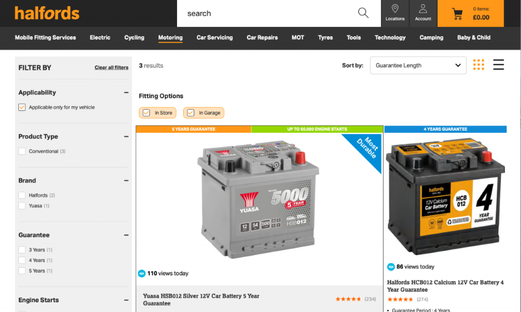 Halfords car battery site reviewed and rated