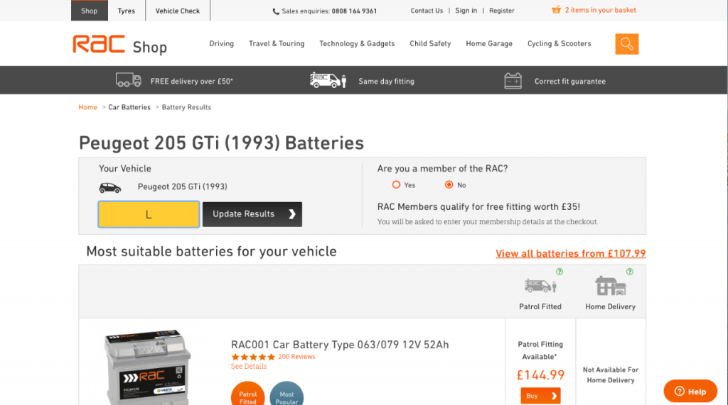 RAC Shop for car batteries reviewed and rated