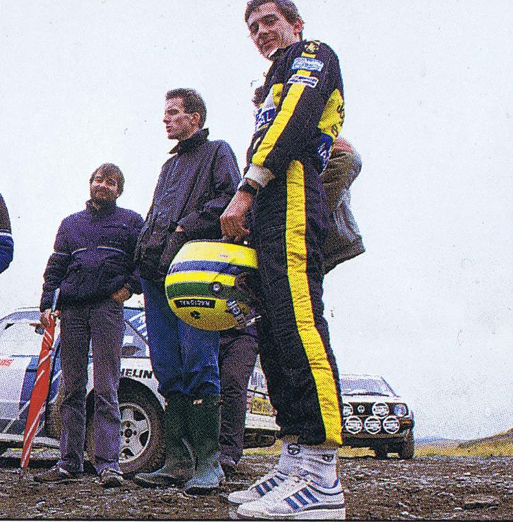 Ayrton Senna with Russell Bulgin during rally car test