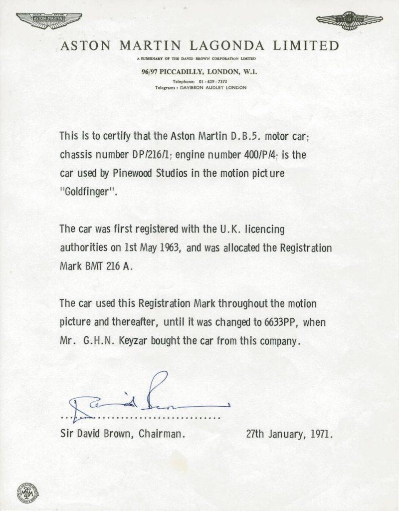 David Brown letter for Aston Martin DB5 from Goldfinger