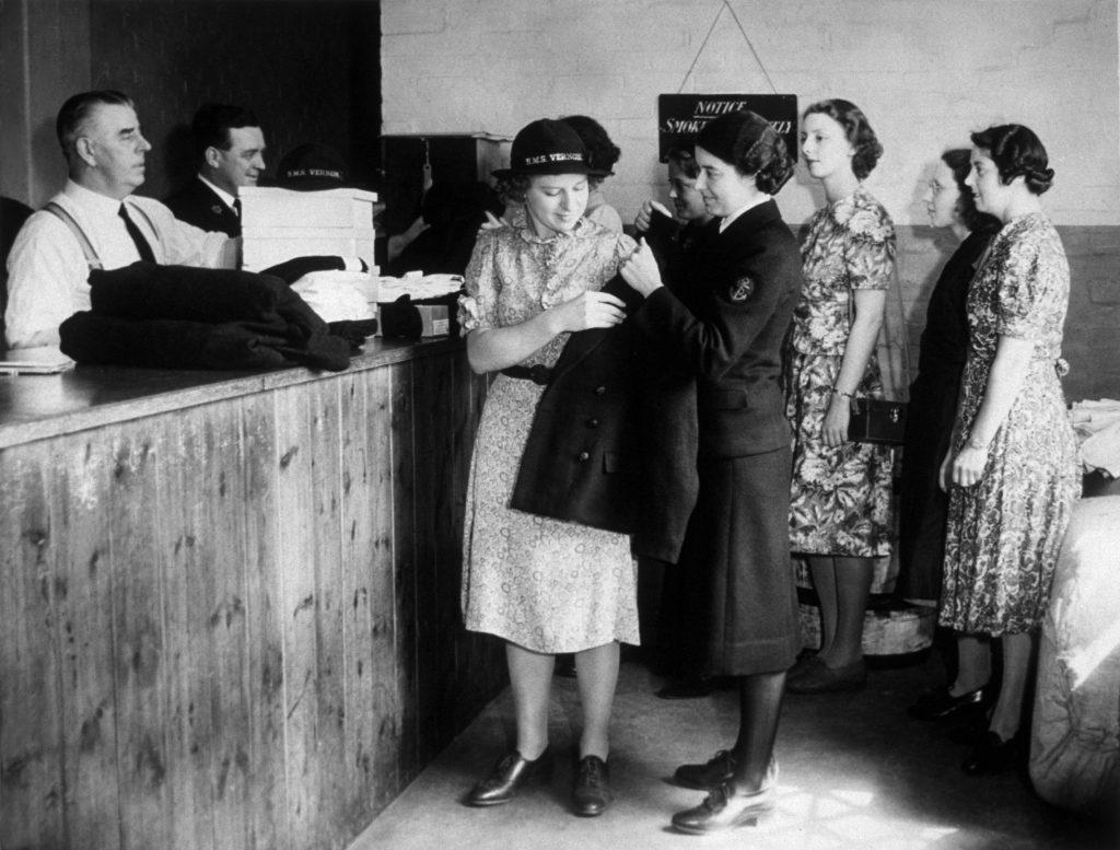 Wren recruits receiving their new uniforms, 1940