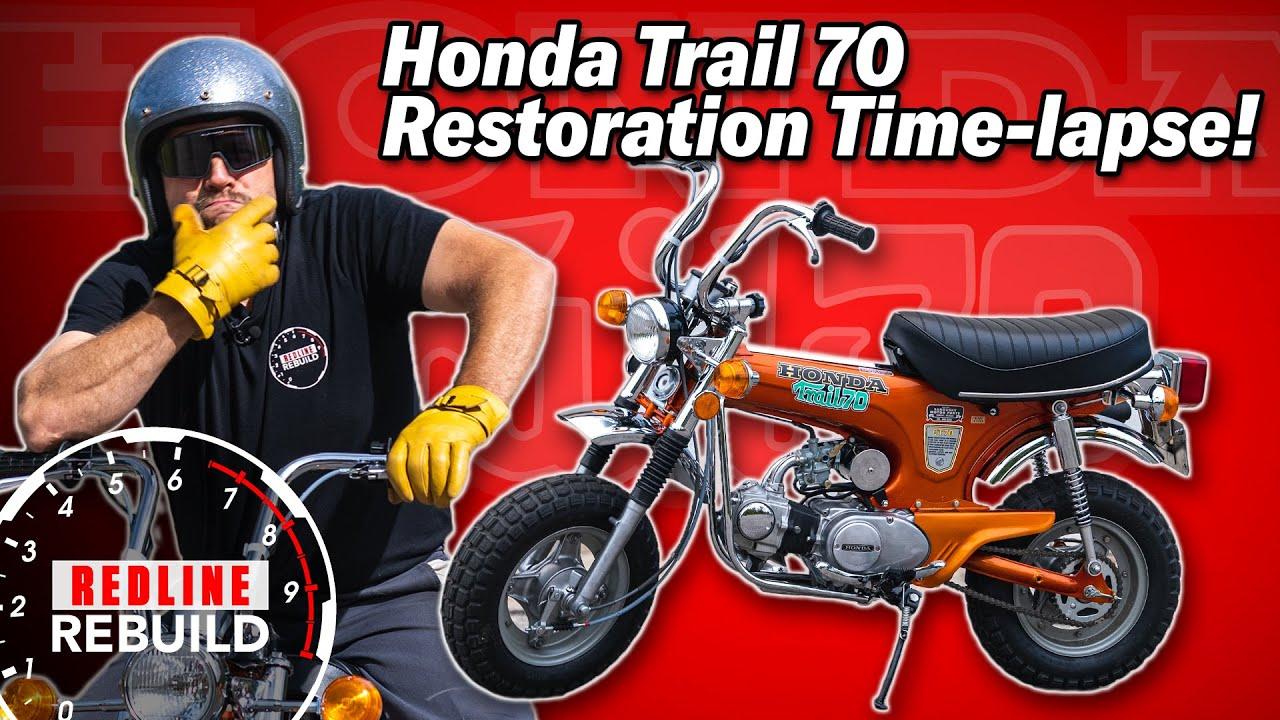 Watch a full restoration of Honda's legendary Trail 70 mini bike in minutes