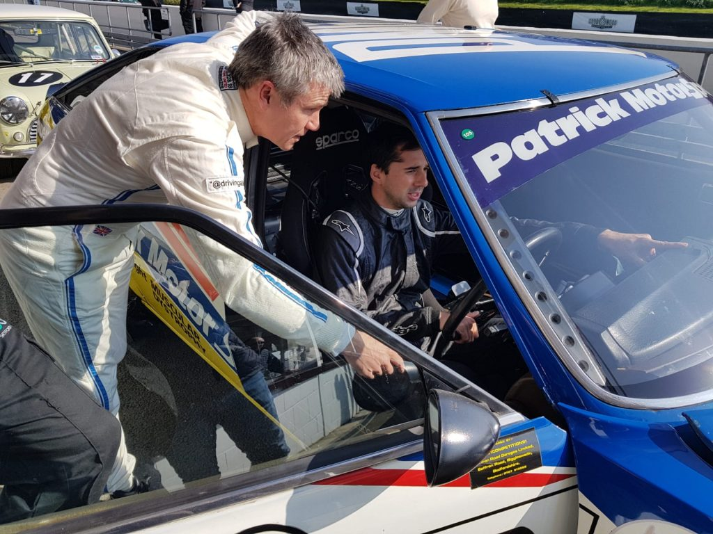 James Wood and Neel Jani with the Rover SD1 in the 2019 Goodwood Members Meeting