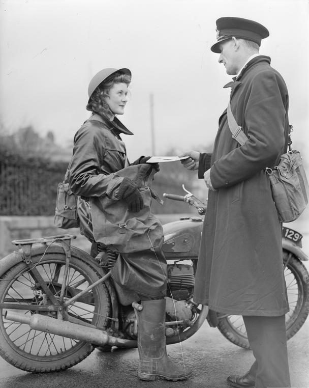 A Wrens dispatch rider receives communications to be delivered